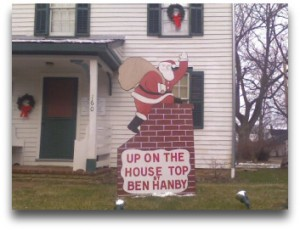 Santa cut out at Hanby House in Westerville