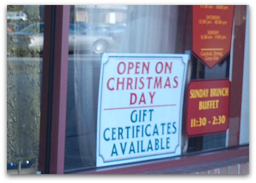 Open On Christmas Day sign