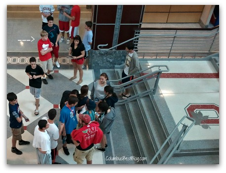 high school age kids touring the Ohio Union