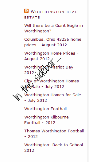 Worthington ohio real estate is on the sidebar of ColumbusBestBlog.com