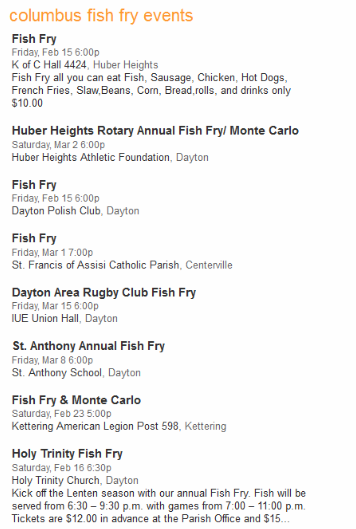 Columbus Fish Fry Events