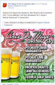 Cinco de Mayo Drink Specials shared by El Vaquero